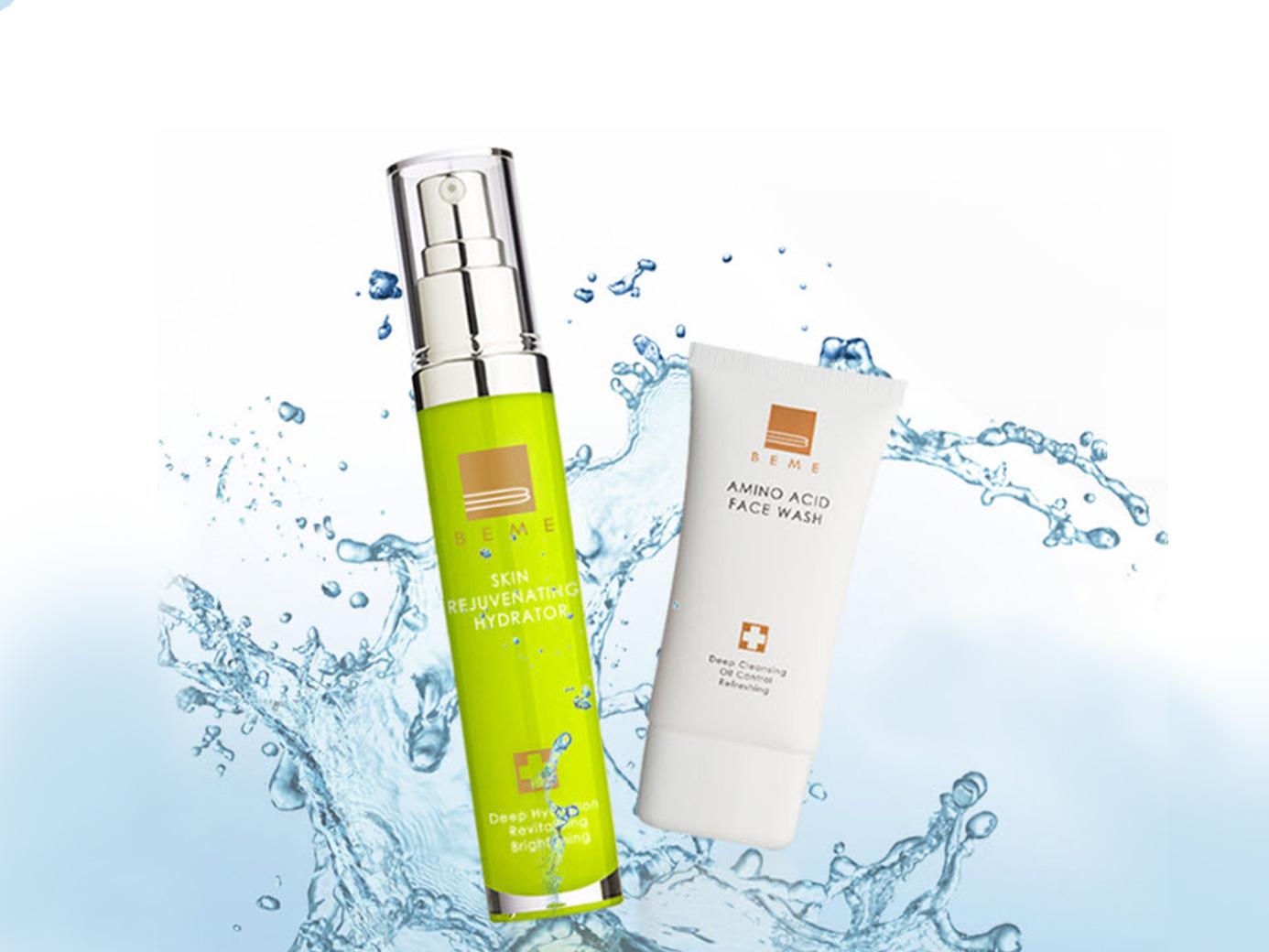 BEME水潤肌雙重奏-水蓮花胺基酸保濕潔面乳+水蓮花前導水精華,讓美變得更容易